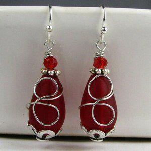 Red Sea Glass Silver Earrings